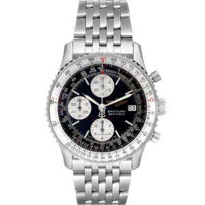 Breitling Black Stainless Steel Navitimer Fighter Chronograph A13330 Men's Wristwatch 41.5 MM