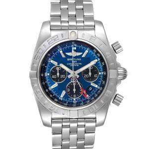 Breitling Blue Stainless Steel Chronomat Evolution GMT AB0420 Men's Wristwatch 44 MM