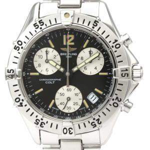 Breitling Black Stainless Steel Colt Chronograph A73380 Quartz Men's Wristwatch 41 MM