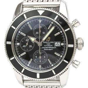 Breitling Black Stainless Steel Super Ocean Heritage Chronograph A13320 Men's Wristwatch 46 MM