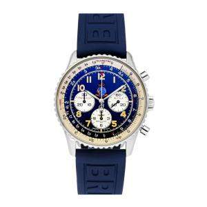 Breitling Blue Stainless Steel Navitimer 92 Patrulla Aguila Limited Edition A30022 Men's Wristwatch 38 MM