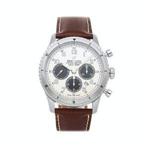 Breitling Silver Stainless Steel Navitimer 8 B01 Chronograph AB01171A1G1X1 Men's Wristwatch 43 MM