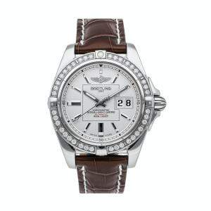 Breitling Silver Diamonds Stainless Steel Galactic A49350LA/G699 Men's Wristwatch 41 MM
