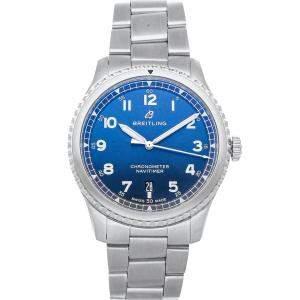 Breitling Blue Stainless Steel Navitimer 8 A17314101C1A1 Men's Wristwatch 41 MM