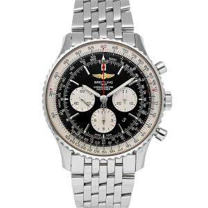 Breitling Black Stainless Steel Navitimer 01 Chronograph AB012721/BD09 Men's Wristwatch 46 MM