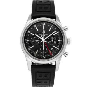 Breitling Black Stainless Steel Transocean Chronograph GMT Limited Edition AB045112/BC67 Men's Wristwatch 43 MM