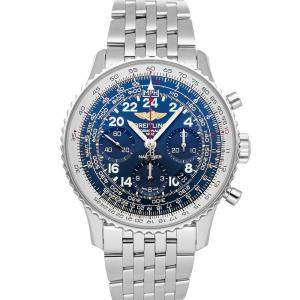 Breitling Blue Stainless Steel Navitimer Cosmonaute AB0210B4/C917 Men's Wristwatch 43 MM