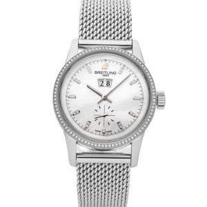 Breitling MOP Diamonds Stainless Steel Transocean A1631053/A765 Men's Wristwatch 38 MM