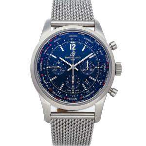 Breitling Blue Stainless Steel Transocean Chronograph Unitime Pilot AB0510U9/C879 Men's Wristwatch 46 MM
