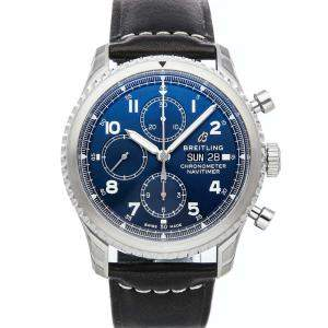Breitling Blue Stainless Steel Navitimer 8 Chronograph A13314101C1X1 Men's Wristwatch 43 MM