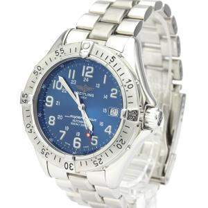 Breitling Blue Stainless Steel Super Ocean A17340 Automatic Men's Wristwatch 41 MM
