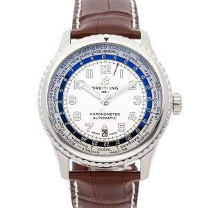 Breitling White Stainless Steel Aviator 8 B35 Unitime AB3521U01G1P3 Men's Wristwatch 43 MM