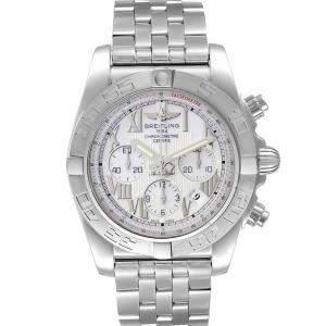 Breitling White Stainless Steel Chronomat 01 AB0110 Men's Wristwatch 43.5 MM