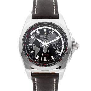 Breitling Black Stainless Steel Galactic Unitime Sleek T WB3510U4/BD94 Men's Wristwatch 44 MM