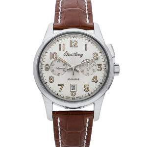Breitling Silver Stainless Steel Transocean Chronograph 1915 AB141112/G799 Men's Wristwatch 43 MM