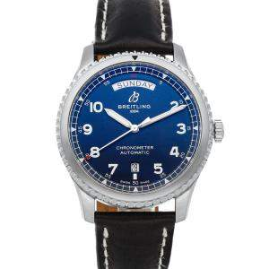Breitling Blue Stainless Steel Aviator 8 Day-Date A45330101C1X1 Men's Wristwatch 41 MM