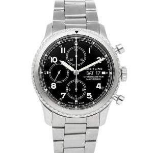 Breitling Black Stainless Steel Navitimer 8 Chronograph A13314101B1A1 Men's Wristwatch 43 MM