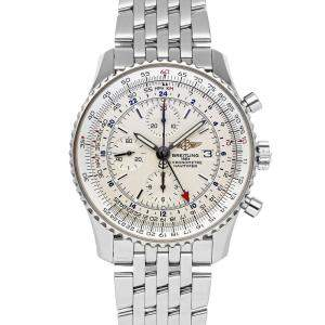 Breitling Silver Stainless Steel Navitimer World A2432212/G571 Men's Wristwatch 46 MM
