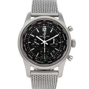 Breitling Black Stainless Steel Transocean Chronograph Unitime Pilot AB0510U6/BC26 Men's Wristwatch 46 MM