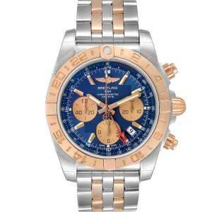 Breitling Blue 18K Rose Gold And Stainless Steel Chronomat Evolution CB0420 Men's Wristwatch 44 MM