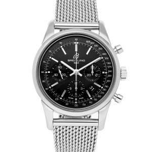Breitling Black Stainless Steel Transocean Chronograph AB015212/BA99 Men's Wristwatch 43 MM
