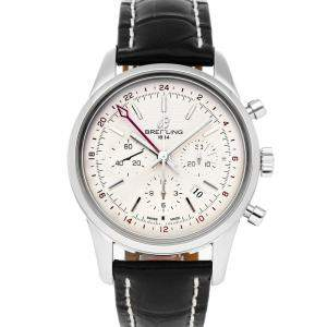 Breitling Silver Stainless Steel Transocean Chronograph GMT AB045112/G772 Men's Wristwatch 43 MM