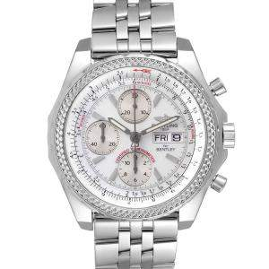 Breitling Silver Stainless Steel Bentley Motors GT Chronograph A13362 Men's Wristwatch 44 MM