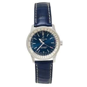 ساعة يد رجالية بريتلينغ نافيميتر 1 A17325 جلد و ستانلس ستيل زرقاء 38 مم