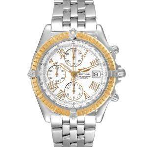 Breitling Silver 18k Yellow Gold And Stainless Steel Chronomat Crosswind D13055 Men's Wristwatch 43 MM