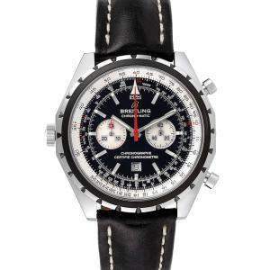 Breitling Black Stainless Steel Chronomatic A41360 Men's Wristwatch 44 MM