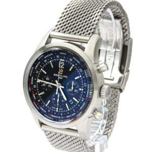 Breitling Black Stainless Steel Transocean Chronograph Unitime AB0510 Automatic Men's Wristwatch 46 MM