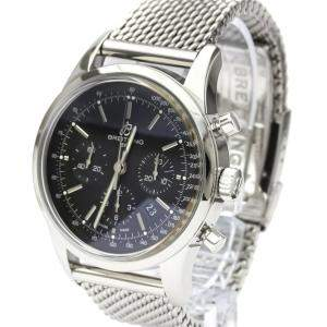 Breitling Black Stainless Steel Transocean Chronograph AB0152 Automatic Men's Wristwatch 46 MM