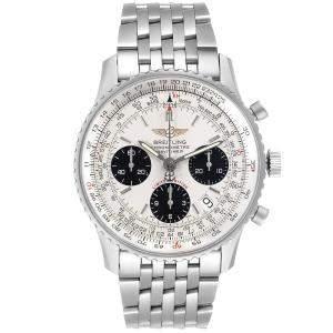 ساعة يد رجالية بريتلينغ نافي تايمر كرونوغراف A23322 ستانلس ستيل فضية 42 مم