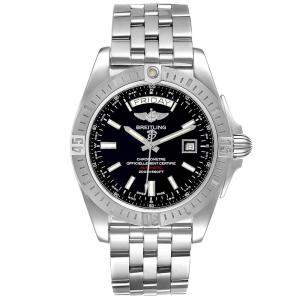 Breitling Black Stainless Steel Galactic A45320 Men's Wristwatch 44 MM