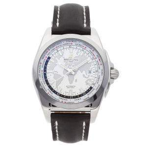 Breitling Silver Stainless Steel Galactic Unitime WB3510U0/A777 Men's Wristwatch 44 MM