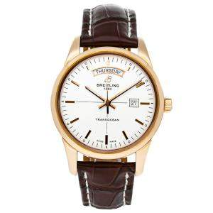 Breitling Silver 18k Rose Gold Transocean Day & Date R4531012/G752 Men's Wristwatch 43 MM