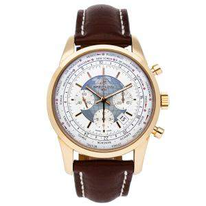 ساعة يد رجالية بريتلينغ ترانس أوشن كرونوغراف يوني تايم RB0510U0/A733 ذهب وردي عيار 18 فضية 46 مم