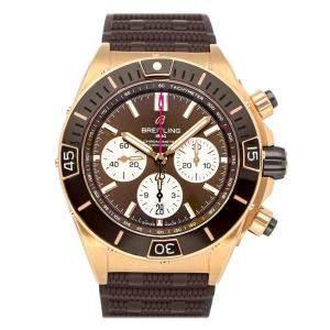 ساعة يد رجالية بريتلينغ سوبر كرونومات  B01 RB0136E31Q1S1 ذهب وردي عيار 18 بنية 44 مم