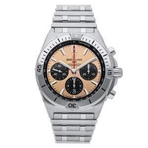 ساعة يد رجالية بريتلينغ كرونومات B01 AB0134101K1A1 ستانلس ستيل نحاسية 42 مم