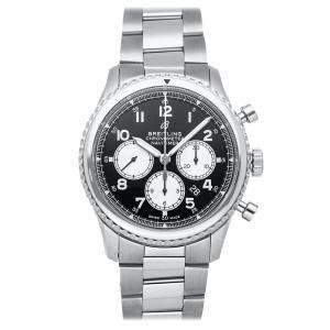ساعة يد رجالية نافي تايمر 8 B01 كرونوغراف AB0117131/B1A1 سانلس ستيل سوداء 43 مم
