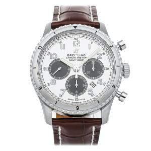 ساعة يد رجالية بريتلينغ كرونوغراف AB01171A1G1P1 أفياتور 8 B01 نافي تايمر ستانلس ستيل فضية 43 مم