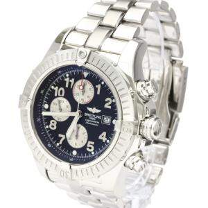Breitling Black Stainless Steel Super Avenger A13370 Chronograph Automatic Men's Wristwatch 48 MM