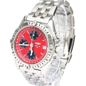 Breitling Red Stainless Steel Chronomat Longitude A20048 Automatic Men's Wristwatch 40 MM