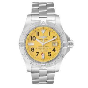 Breitling Yellow Stainless Steel Aeromarine Avenger Seawolf A17330 Men's Wristwatch 41.5 MM