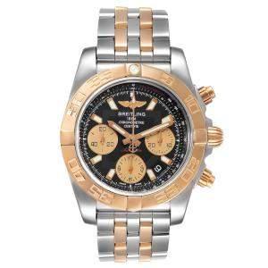 Breitling Black 18K Rose Gold And Stainless Steel Chronomat CB0140 Men's Wristwatch 41 MM