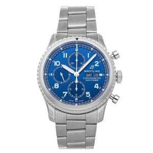 ساعة يد رجالية بريتلينغ نافي تايمر 8 كرونوغراف A13314101C1A1 ستانلس ستيل زرقاء 43 مم
