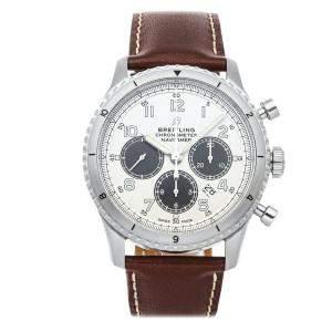 ساعة يد رجالية بريتلينغ AB01171A1G1X1  كرونوغراف نافي تايمر  8 B01 ستانلس ستيل فضية 43 مم