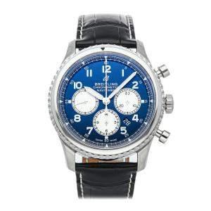 ساعة يد رجالية بريتلينغ نافي تايمر 8 B01 كرونوغراف AB0117131C1P1 ستانلس ستيل زرقاء 43 مم
