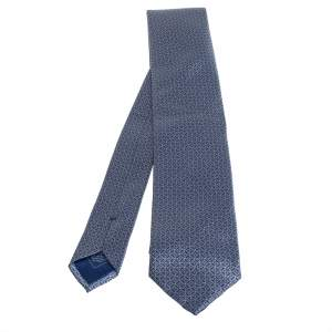 Brioni Blue Geometric Patterned Silk Tie and Pocket Square Set