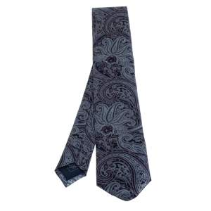 Brioni Blue Paisley Print Silk Tie and Pocket Square Set